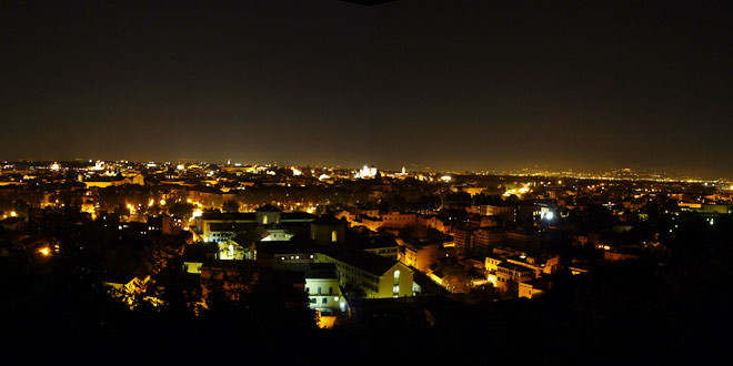 Gianicolo Colle Di Roma Con Meraviglioso Panorama Della Città